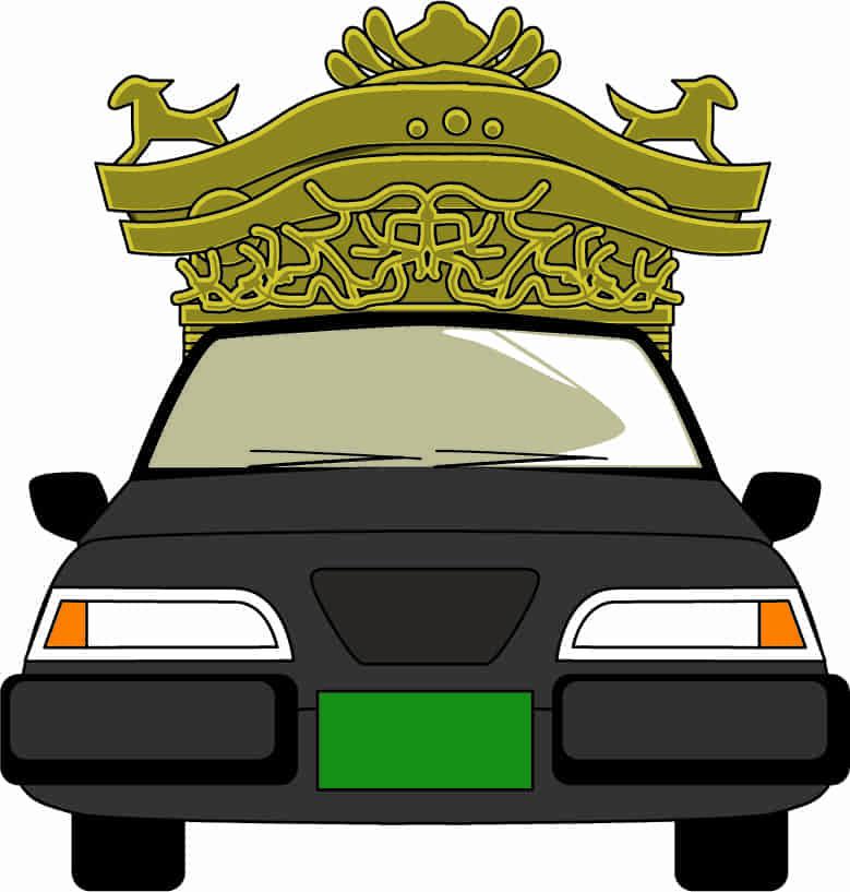 宮型屋根の霊柩車